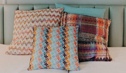 décoration chambre coussin en tweed
